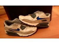 Nike Air Max 90s size 10 white leather uppers,blue swoosh used but excellent condition