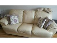 Genuine Ieather sofa cream 3+1+1
