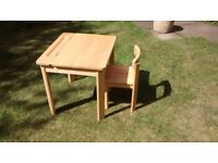 Childs wooden desk and chair set