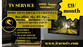 TV SERVICE £9/month, GUARANTEED SATISFACTION! 1800 Live TV Channels, Movies and TV Shows, Sports,PPV