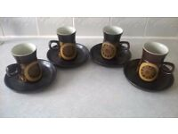 SET OF 4 BROWN ARABESQUE DENBY DESIGN VINTAGE 1970's CUPS AND MATCHING SAUCERS