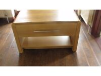 LIGHT OAK EFFECT TV STAND WITH DRAWER AND SHELF,EXCELLENT CONDITION