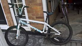 """White BMX for sale, 20"""" wheels, comes with helmet"""