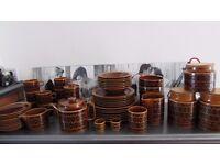 1970's Vintage Hornsea Brown Heirloom Pottery Massive Collection Cups Plates Tea Pot Storage Jars