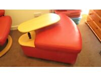 Stressless Corner Unit/Ottoman in Red Leather by Ekornes