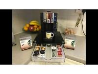 Starbucks Verismo Coffee Machine + tempered glass pod holder+ luxury milk frother bundle