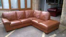 Brown Leather LShaped sofa