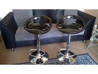 2 Black/Crome Bar stools