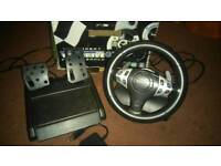 Gaming steering wheel & pedals with PS3 games