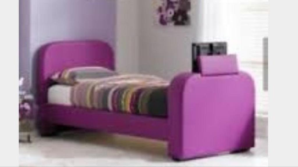 Excellent Purple single bed frame with TV and mattress