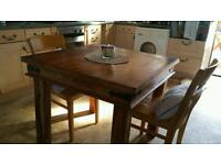 Solid wood table 90cm x90cm chunky rose wood