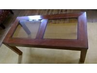 Coffee Table with two bevelle edged glass panels