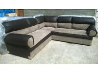 Brand New Brown Leather & Beige Material Corner Sofa Unused Still In Wrappers £350 Can Deliver