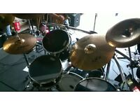 Full gig worn premier drum kit, Gibraltar rack/hats stand/double bass peddle and zilgean cymbals