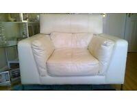 Cream Leather Club Chair