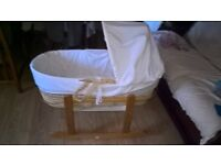 Wicker Moses Basket with Rocking Stand in used condition for sale!
