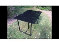 Black tempered glass table / office desk (80x120cm)