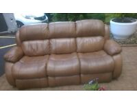 3 Seater brown leather sofa in near new condition