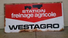 LARGE GENUINE VINTAGE FRENCH METAL SIGN ADVERTISING TRACTOR WESTAGRO BRAKES
