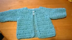 crocheted baby cardy and dress set first size sale price