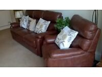 three piece suite, immaculate condition, £2650 from Martin and Frost, hardly used, brown/tan leather