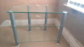 Glass TV unit silver