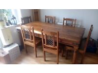 Handmade indian sheesham wood dining table and 6 chairs