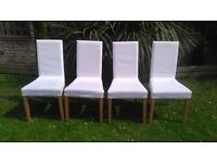 4x Ikea Harry dining chairs with removable/changeable covers.