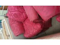 Red sofa with red arm chair