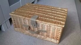 Wicker Picnic Basket and Cutlery
