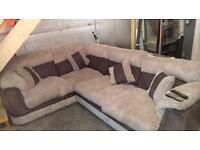 Fabric L sofa and swivel chair
