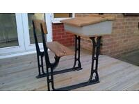 Desk Victorian School item with wrought iron leg supports unusual!