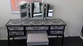 Black/Silver diamonti dressing table & diamonti mirror & black /silver diamonti stool