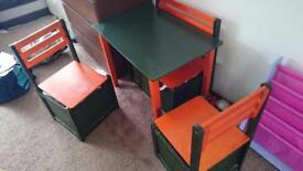 Children's unique wooden table, bench and 2 seats with storage