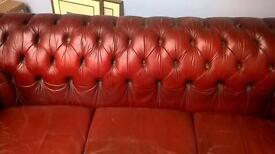 Chesterfield 3 seater burgundy sofa