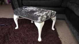 Crushed velvet footstool