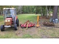 Massey ferguson 1020 Compact Tractor with topper log splitter and chain harrows