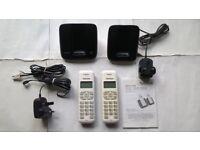 Talk Talk 1002B Twin Digital Cordless Telephones 2 Handsets, Chargers, Leads & Manual
