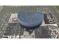 Ex-display Grey fabric and Black Hide Half-moon Footstool.