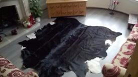 x Large black and white cow hide rug - reduced