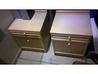 Pair of bedside cupboard sideboard units with slide out ledges excellent central London bargain