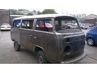 VW T2 bay window Westy Westfalia Weekender RUST FREE Bare metal rolling shell camper campervan