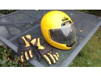 kiwi crash helmet and kevlar gloves