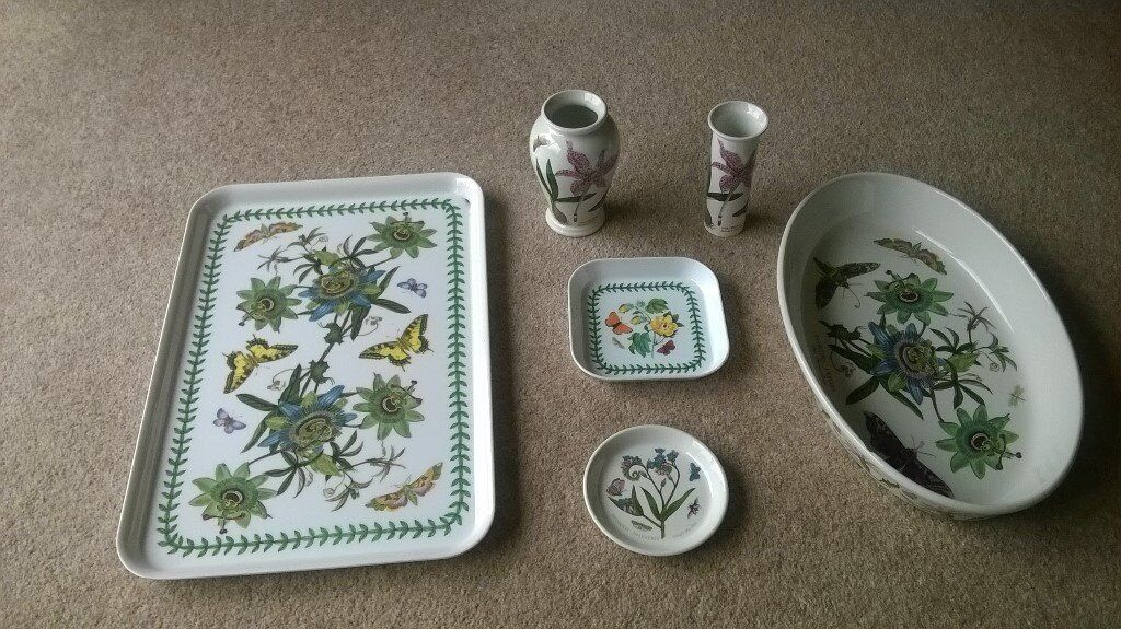 Portmeirion Botanic Garden tray, vases, small dishes and large dish