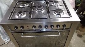 Stainless steel Indesit dual fuel 5 burner range cooker good overall condition