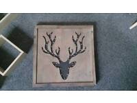 Stag wooden light up up picture