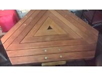 Really Substantial Three Sided Hardwood Garden Table