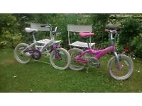 2 childrens' bikes for sale. 16 inch wheels. Suitable for learners. Good condition, ready to ride.