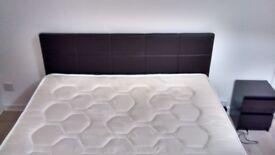 Faux leather king size bed + memory foam mattress