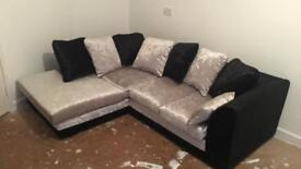 Silver and black crushed velvet corner sofa